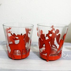 Vintage glasses with red metal X'mas glass holder